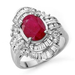 4.58 CTW Ruby & Diamond Ring 18K White Gold - REF-140Y2N - 13089