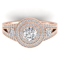 1.50 CTW Certified VS/SI Diamond Art Deco 3 Stone Halo Ring 14K Rose Gold - REF-170M8F - 30373