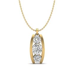 1.07 CTW VS/SI Diamond Art Deco Stud Necklace 18K Yellow Gold - REF-158M2F - 37015