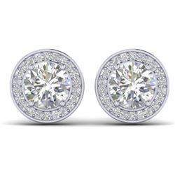 1.85 CTW I-SI Diamond Solitaire Art Deco Micro Stud Halo Earrings 14K White Gold - REF-327H3W - 3035