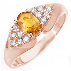 0.90 CTW Yellow Sapphire & Diamond Ring 14K Rose Gold - REF-43R6K - 10024