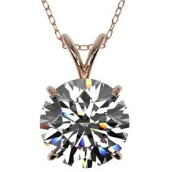 2.50 CTW Certified H-SI/I Quality Diamond Solitaire Necklace 10K Rose Gold - REF-834H2W - 33241