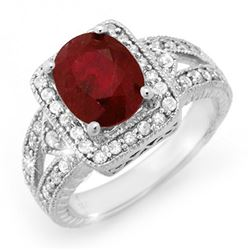 3.20 CTW Ruby & Diamond Ring 14K White Gold - REF-101W8H - 14257