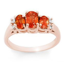1.14 CTW Orange Sapphire & Diamond Ring 14K Rose Gold - REF-37T8X - 10635