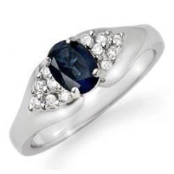 0.90 CTW Blue Sapphire & Diamond Ring 14K White Gold - REF-31R8K - 12454