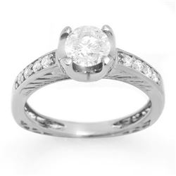 1.10 CTW Certified VS/SI Diamond Ring 14K White Gold - REF-172W2H - 11658