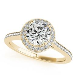 1.55 CTW Certified VS/SI Diamond Solitaire Halo Ring 18K Yellow Gold - REF-412H5W - 26367