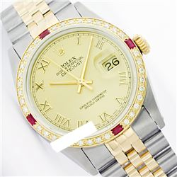 Rolex Ladies Two Tone 14K Gold/SS, Roman Dial & Diam/Ruby Bezel, Saph Crystal - REF-357X8A