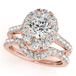 2.52 CTW Certified VS/SI Diamond 2Pc Wedding Set Solitaire Halo 14K Rose Gold - REF-444X9T - 31173