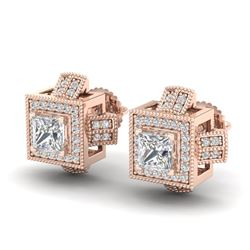 1.73 CTW Princess VS/SI Diamond Micro Pave Stud Earrings 18K Rose Gold - REF-254X5T - 37185