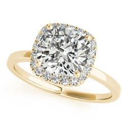 0.92 CTW Certified VS/SI Cushion Diamond Solitaire Halo Ring 18K Yellow Gold - REF-226R5K - 27218