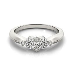1.1 CTW Certified VS/SI Diamond 2 Stone 2 Stone Ring 18K White Gold - REF-187M5F - 28224