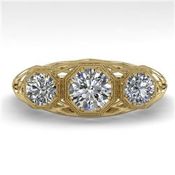 1.00 CTW Past Present Future VS/SI Diamond Ring 18K Yellow Gold - REF-162M9F - 36058