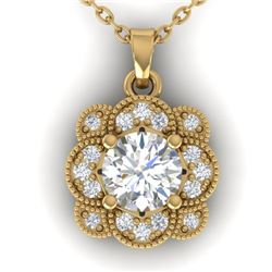 0.75 CTW I-SI Diamond Solitaire Art Deco Necklace 14K Yellow Gold - REF-104F8M - 30518