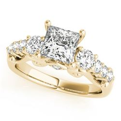 1.5 CTW Certified VS/SI Diamond 3 Stone Princess Cut Ring 18K Yellow Gold - REF-292F5M - 27995