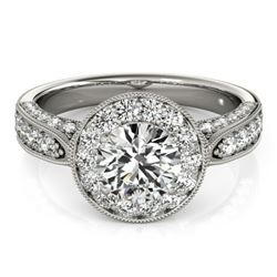 2 CTW Certified VS/SI Diamond Solitaire Halo Ring 18K White Gold - REF-435F3M - 27042