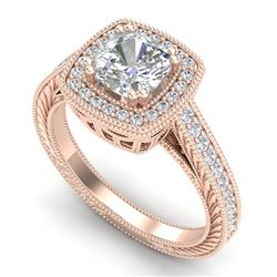 1.77 CTW Cushion VS/SI Diamond Solitaire Art Deco Ring 18K Rose Gold - REF-445X5T - 37032