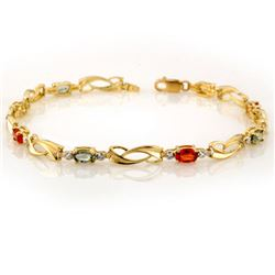 2.62 CTW Multi-Sapphire & Diamond Bracelet 10K Yellow Gold - REF-27T6X - 10605