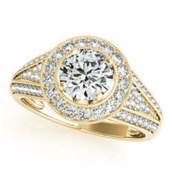 1.7 CTW Certified VS/SI Diamond Solitaire Halo Ring 18K Yellow Gold - REF-416K4R - 26720