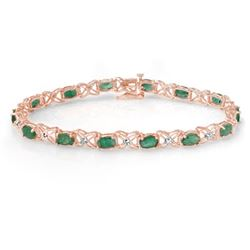 6.85 CTW Emerald & Diamond Bracelet 18K Rose Gold - REF-109T3X - 13894