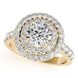 3 CTW Certified VS/SI Diamond Solitaire Halo Ring 18K Yellow Gold - REF-796H4W - 26888