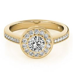 0.80 CTW Certified VS/SI Diamond Solitaire Halo Ring 18K Yellow Gold - REF-130R4K - 26903