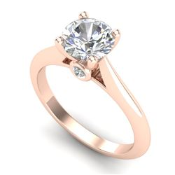1.36 CTW VS/SI Diamond Solitaire Art Deco Ring 18K Rose Gold - REF-509Y3N - 37290