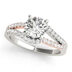 1.15 CTW Certified VS/SI Diamond Solitaire Ring 18K White & Rose Gold - REF-218F2M - 27930