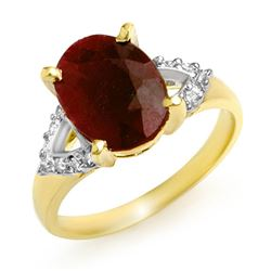 5.55 CTW Ruby & Diamond Ring 10K Yellow Gold - REF-40R2K - 12981