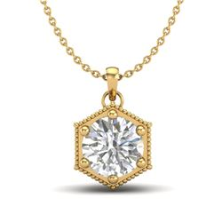 0.82 CTW VS/SI Diamond Solitaire Art Deco Stud Necklace 18K Yellow Gold - REF-218F2M - 37222