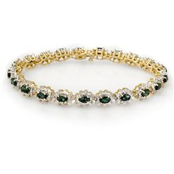 9.42 CTW Emerald & Diamond Bracelet 14K Yellow Gold - REF-345M5F - 13991