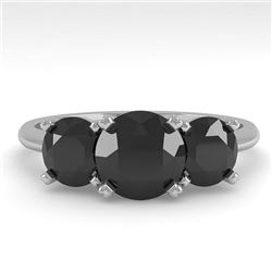 2 CTW Black Diamond Past Present Future Designer Ring 18K White Gold - REF-91H8W - 32466