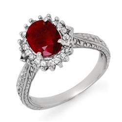 2.75 CTW Ruby & Diamond Ring 18K White Gold - REF-69W3H - 12727