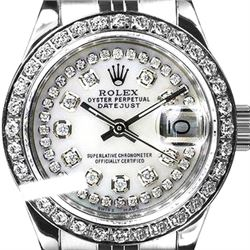 Rolex Men's Stainless Steel, QuickSet, Diamond Dial & Diamond Bezel - REF-474H5W
