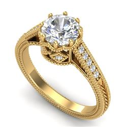 1.25 CTW VS/SI Diamond Art Deco Ring 18K Yellow Gold - REF-400T2X - 36907