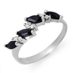 0.80 CTW Blue Sapphire & Diamond Ring 18K White Gold - REF-34F4M - 12876