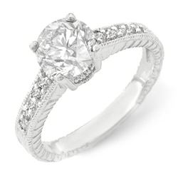 1.05 CTW Certified VS/SI Diamond Solitaire Ring 14K White Gold - REF-180R9K - 14075