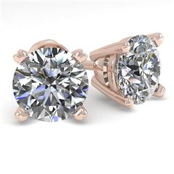 2.0 CTW VS/SI Diamond Stud Designer Earrings 14K Rose Gold - REF-528H2W - 38370