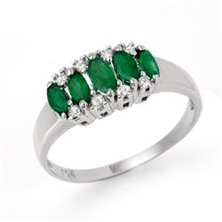 0.77 CTW Emerald & Diamond Ring 14K White Gold - REF-28K2R - 12392
