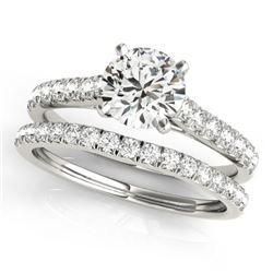 1.61 CTW Certified VS/SI Diamond Solitaire 2Pc Wedding Set 14K White Gold - REF-225M6F - 31700