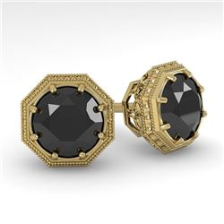 2.0 CTW Black Diamond Stud Solitaire Earrings 18K Yellow Gold - REF-64F9M - 35980