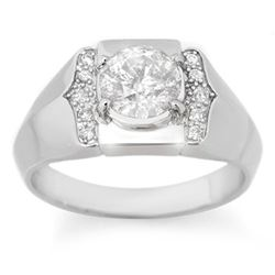 1.65 CTW Certified VS/SI Diamond Mens Ring 14K White Gold - REF-606T8X - 14489