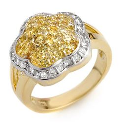 1.50 CTW Yellow Sapphire & Diamond Ring 14K Yellow Gold - REF-81T8X - 10407
