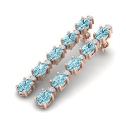 15.47 CTW Skt Blue Topaz & VS/SI Certified Diamond Earrings 10K Rose Gold - REF-74K8R - 29495