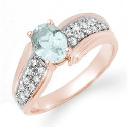 1.20 CTW Aquamarine & Diamond Ring 14K Rose Gold - REF-59F5M - 14521