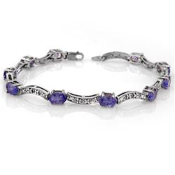 4.25 CTW Tanzanite & Diamond Bracelet 14K White Gold - REF-84X9T - 10373