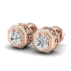 1.07 CTW VS/SI Diamond Solitaire Art Deco Stud Earrings 18K Rose Gold - REF-190T9X - 37095