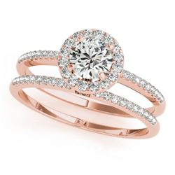 0.85 CTW Certified VS/SI Diamond 2Pc Wedding Set Solitaire Halo 14K Rose Gold - REF-116X5T - 30796