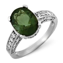 3.60 CTW Green Tourmaline & Diamond Ring 14K White Gold - REF-85K6R - 10409