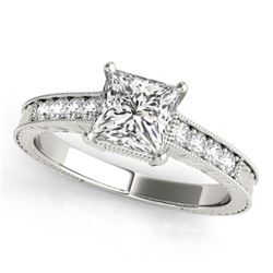 0.65 CTW Certified VS/SI Princess Diamond Solitaire Antique Ring 18K White Gold - REF-136K4R - 27225